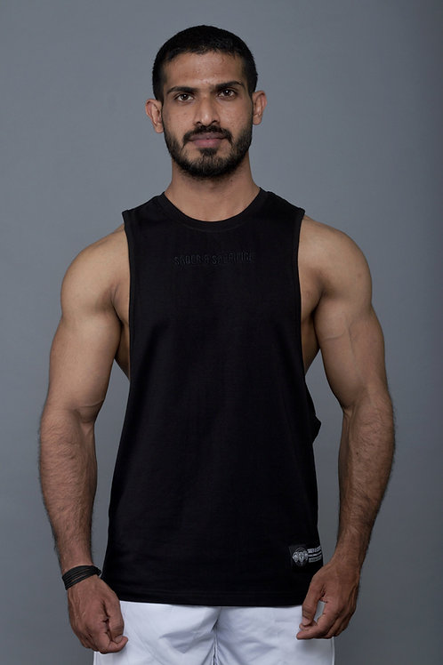 D002. Persistence Embroidered Muscle Tee - Black