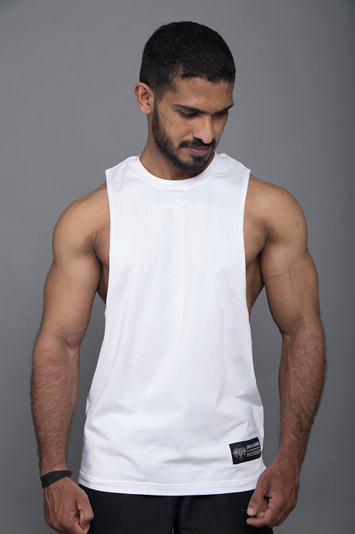 D002. Persistence Embroidered Muscle Tee - White