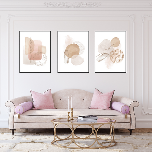 Set of Three Nude Color Wall Frame