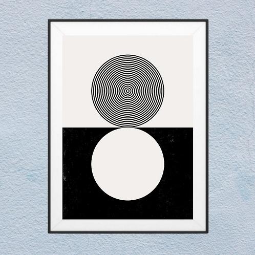 2 Circle Boho Abstract   Framed Wall Art