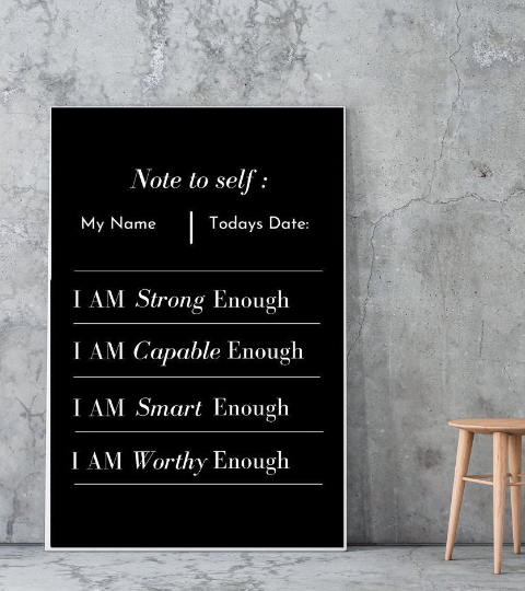 Black - 100% Personalized Note to Self Canvas