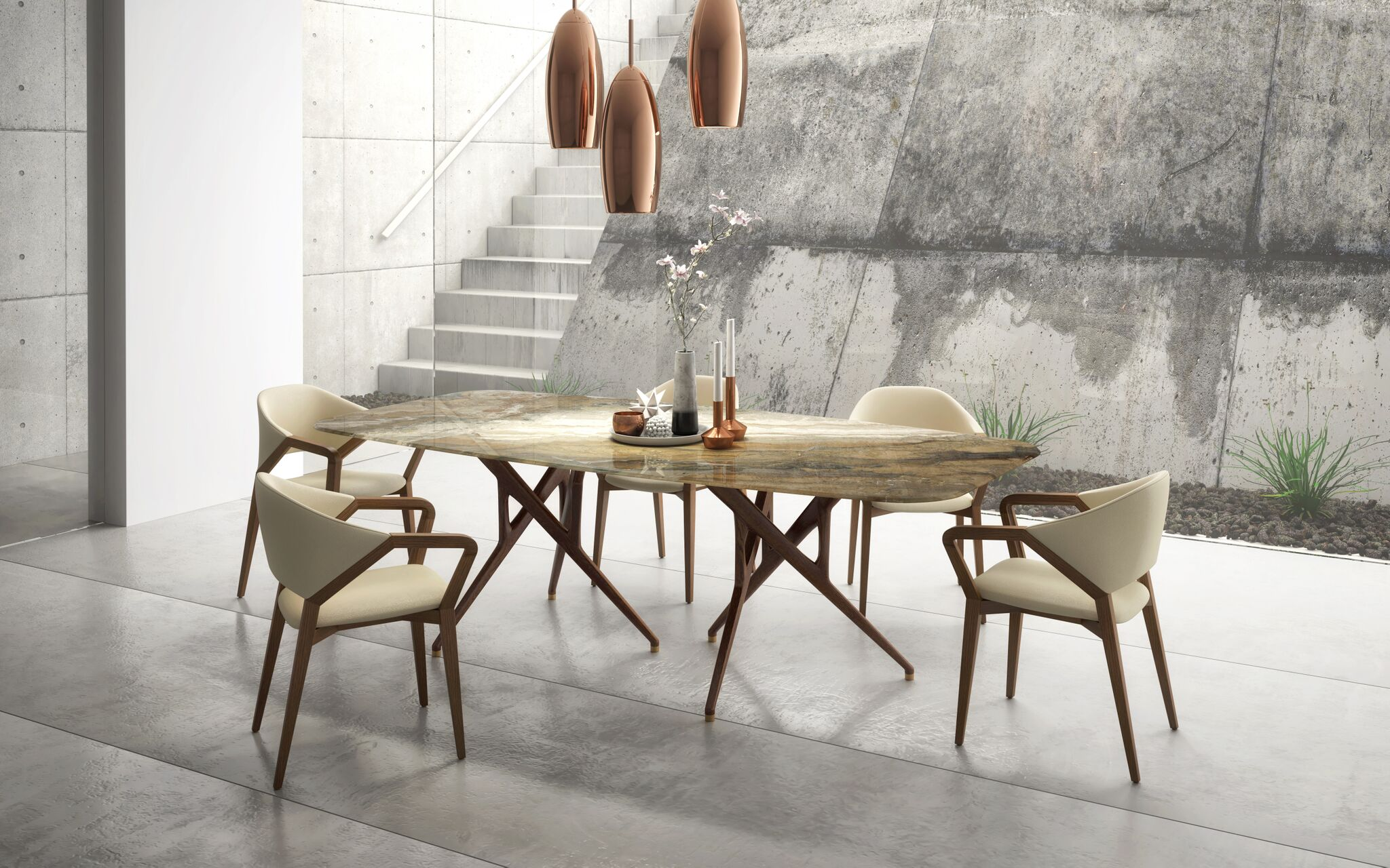SAM Rafa Stone + Milan chair + orion lig