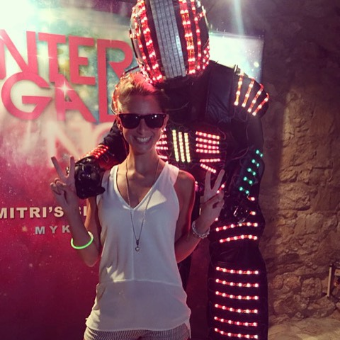 Saturday night in Greece!  #robot #mykonos #summer #party #work #longnight #flashlights #interstellar