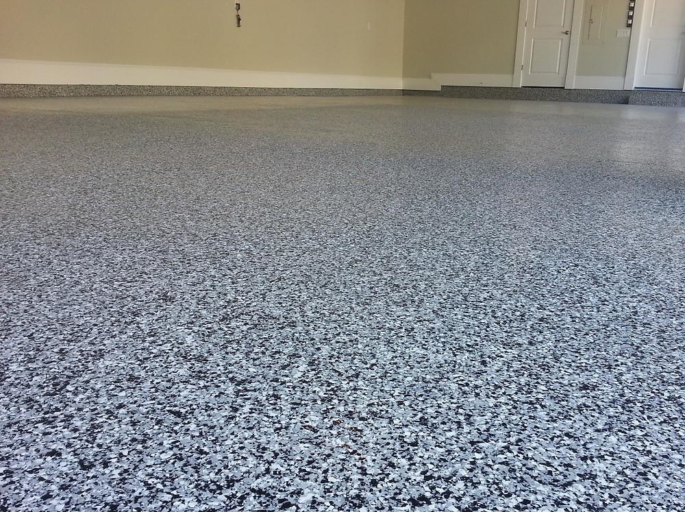 hybrid polymer decorative flake floor coating