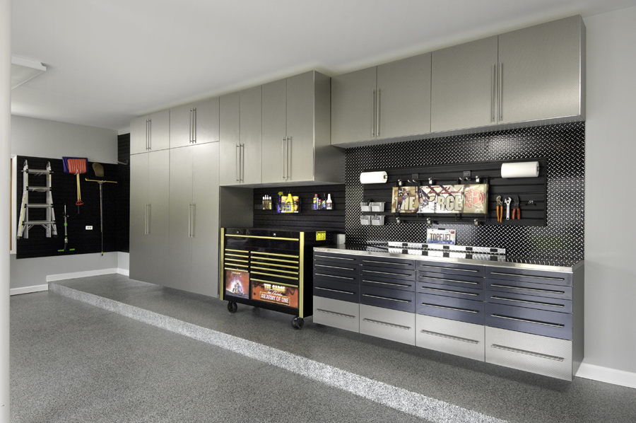 Platinum and Black Garage Cabinets 2