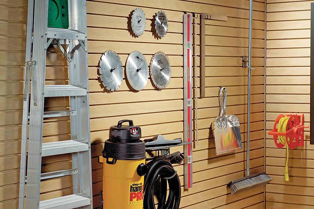 slat wall hooks and garage organization