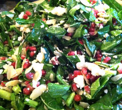 Collard Greens with Pomegranate and Almonds