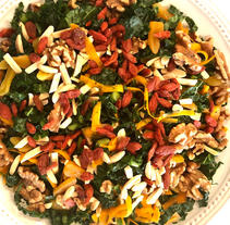 Wheatberry and Kale Salad with Gogis and Walnuts