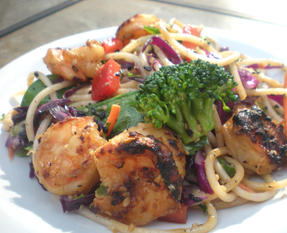 Rice Noodles with Grilled Shrimp and Vegetables
