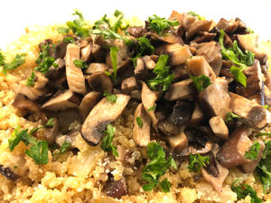 Brown Rice with Green Herbs and Mushrooms
