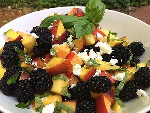 Peaches Blackberries Basil Balsamic Feta