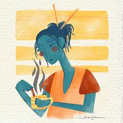 Ana Pi -Ilustración café