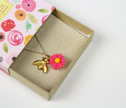 Flower and bee necklace
