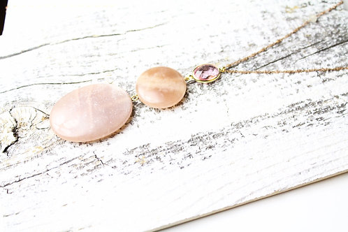 Sold out- Pink double stone long necklace