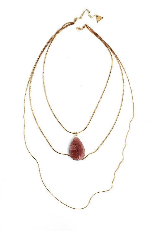 Multilayer Rose Quartz Necklace