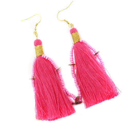 Hot Pink Cotton Ophelia Earring