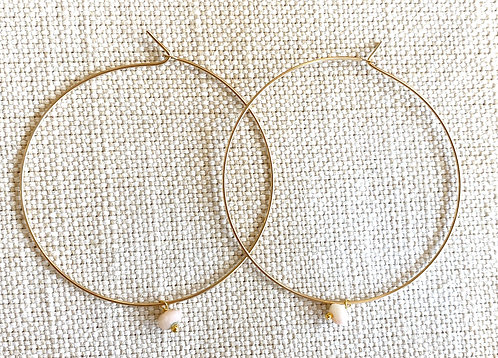 Pink Bead Gold Hoops