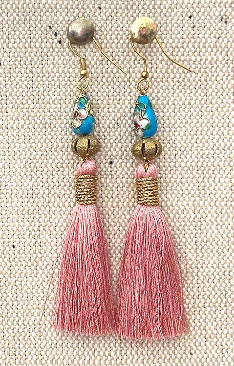 Blue and Pink Sandra Earrings