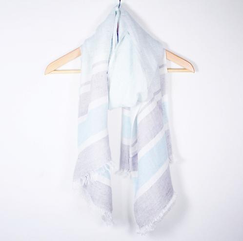 Blue and Grey stripe scarf