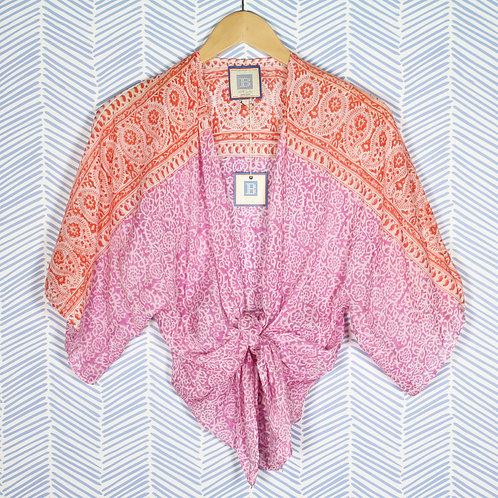 Pink and Orange tie kimono