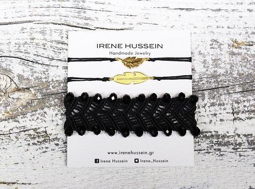 Triple black macrame bracelet set