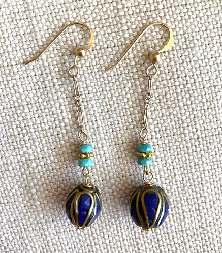 Dangly Navy Bead Earrings