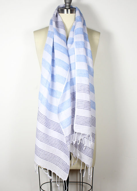 Blue navy stripe scarf