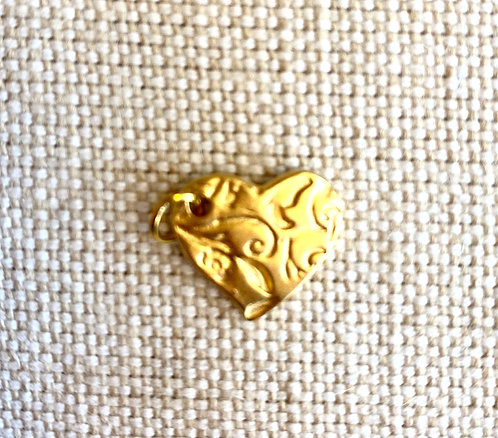 Gold etched heart charm