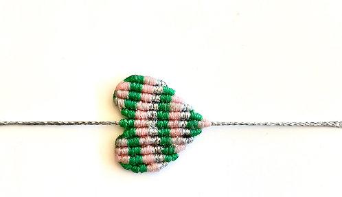 Large Pink Green Silver Heart Bracelet