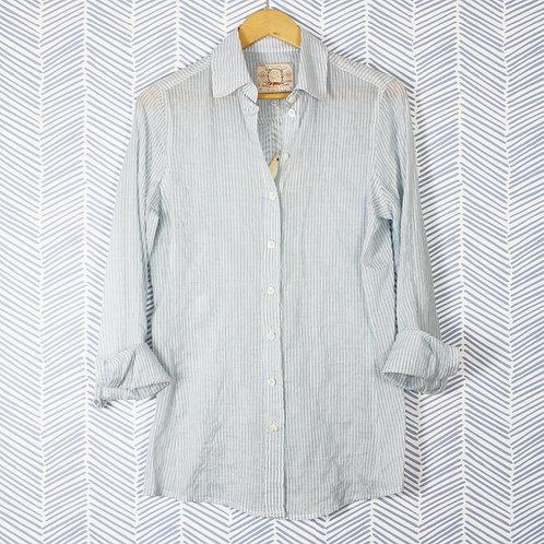 Blue and cream stripe shirt