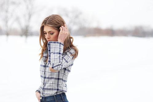 Grey flannel plaid shirt