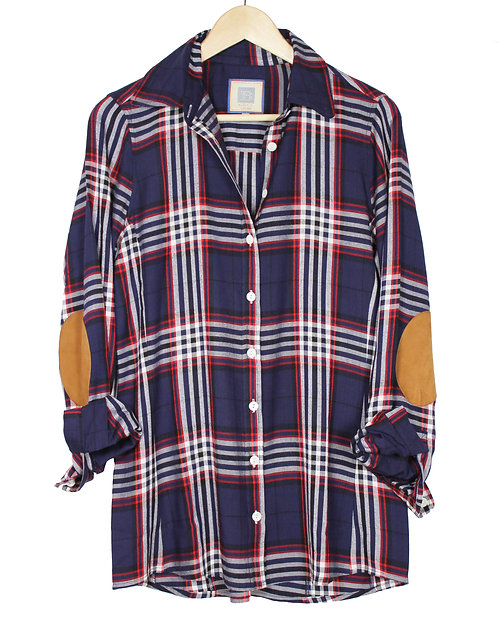 Navy and Red Basic Flannel