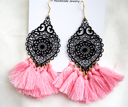 Black and Pink Tassel Earrings