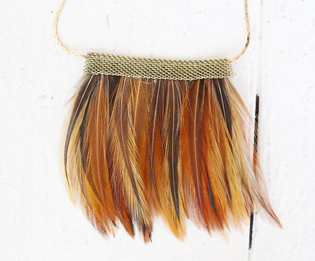 red multi-color feather necklace