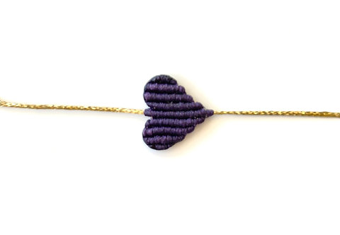 Small Dark Purple Heart Bracelet