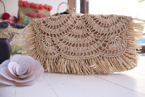 Sold out-Scalloped fringe clutch