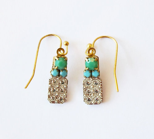 green, blue, and white studded earring