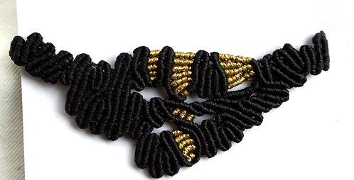 Gold and Black Macrame Bracelet
