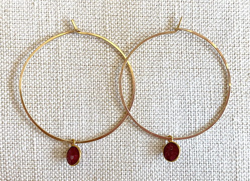 Ruby Charm Gold Hoops
