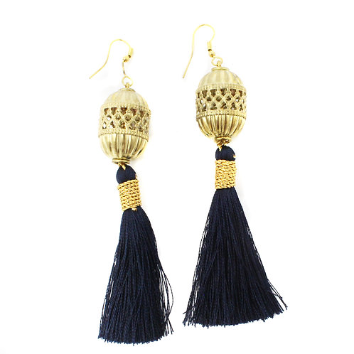 Gold Cage Bead Earring