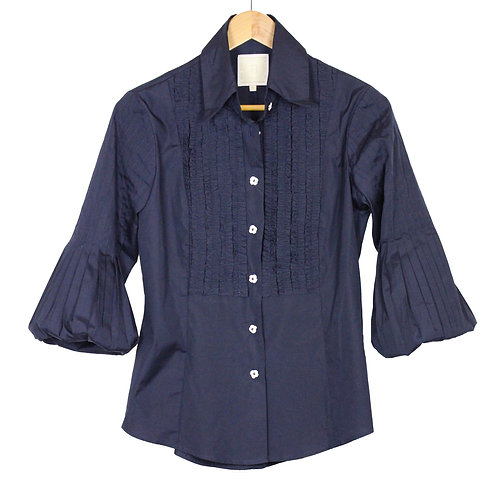 Pleated Lantern sleeve- navy