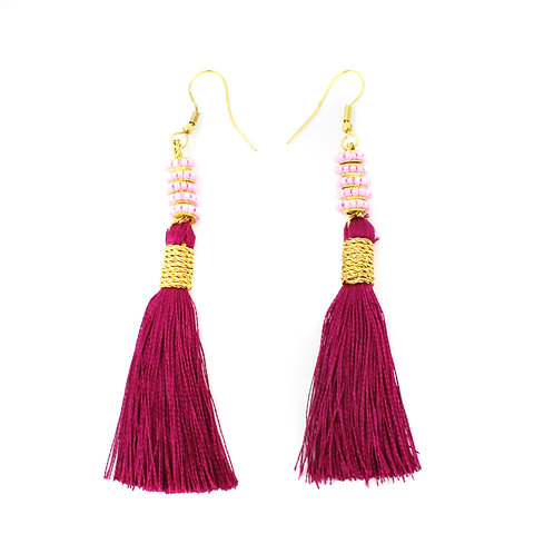 Maroon Silk Halley Earrings