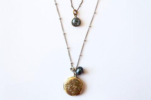 3 layer mini locket necklace