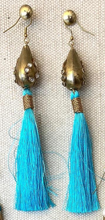 Turquoise Silk Juliet Earrings