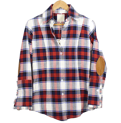 Red navy flannel plaid shirt