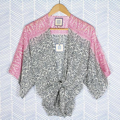 Pink and Black tie kimono