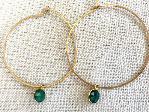 Emerald Gold Hoops