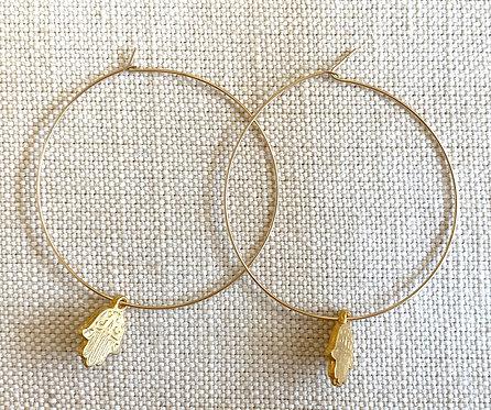 Hamsa Charm Gold Hoops