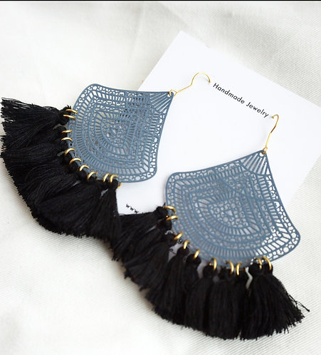 Slate and Black Tassel Earrings