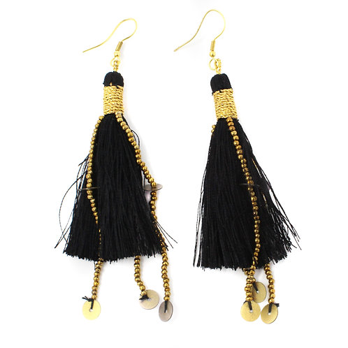 Black and Gold Ophelia Earring